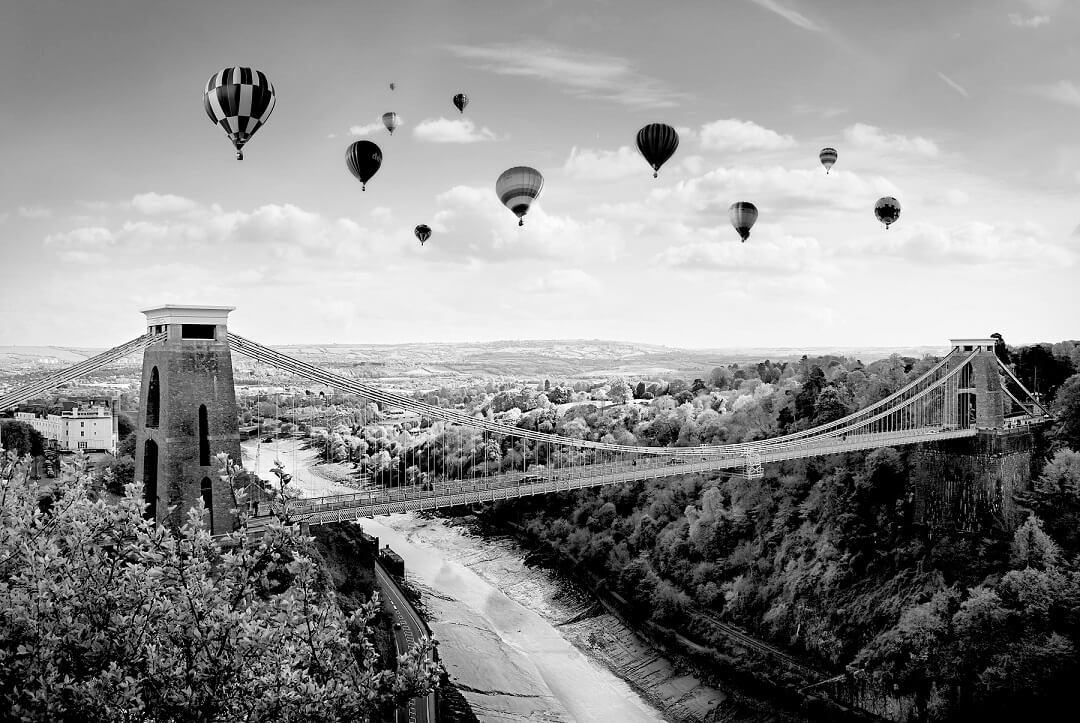 Suspension bridge and baloons